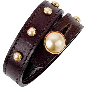 Lederarmband Crystal Button